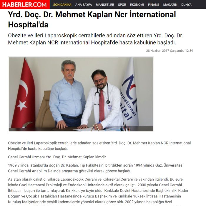 Yrd. Doç. Dr. Mehmet Kaplan Ncr İnternational Hospital'da